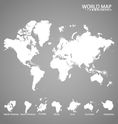 World Map Black And White Vector - Design Templates - Black And Grey World Map