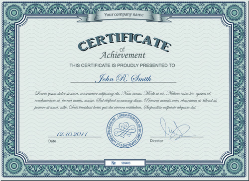 Computer certificate design design free vector download (225,757