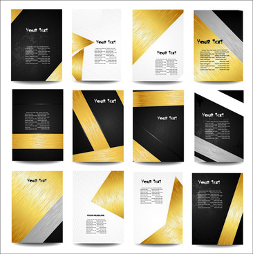 Business report cover page templates free vector download (26,819