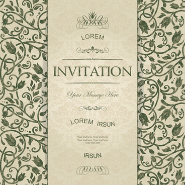 Vintage invitation card vector flower backgrounds free vector