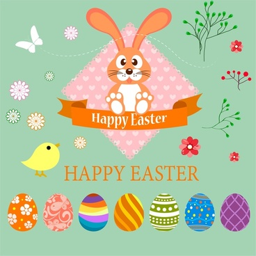 Happy easter card vector design with colorful eggs Free vector in