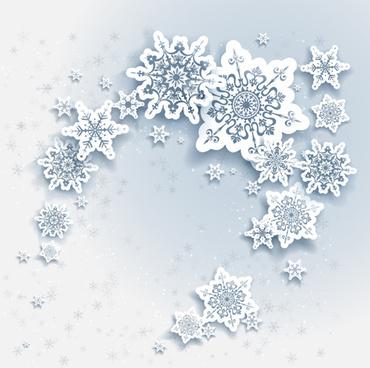 Green snowflake christmas theme background material free vector - christmas theme background