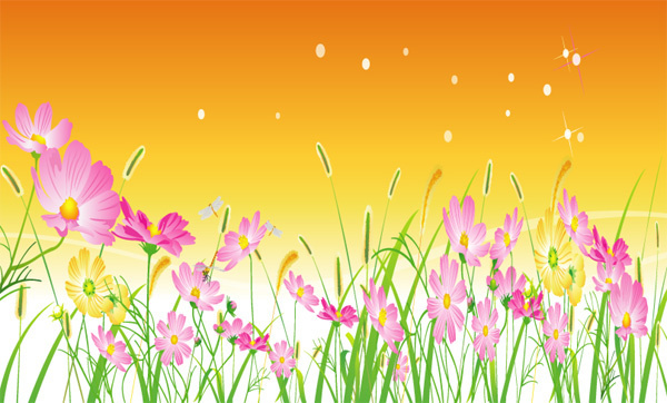Vector pink yellow background flowers free vector download (56,549