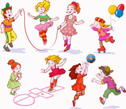 Children play sports vector free vector download (4,505 Free vector - cartoon children play