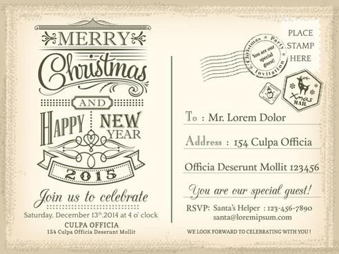 Adobe illustrator template christmas postcard free vector download