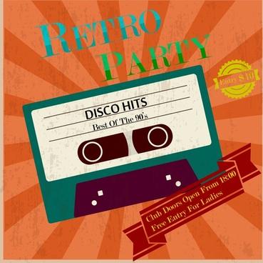 Free retro party invitation template free vector download (23,643