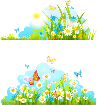 Free butterfly word document flower page borders free vector