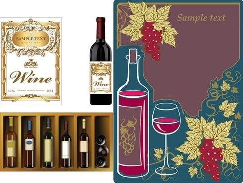 Vector wine bottle label free vector download (9,387 Free vector