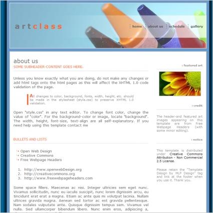Art Class Template Free website templates in css, html, js format