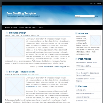 Blue Blog Template Free website templates in css, html, js format