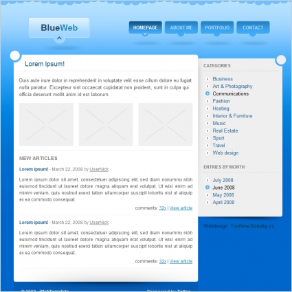 Blue Web Template Free website templates in css, html, js format for