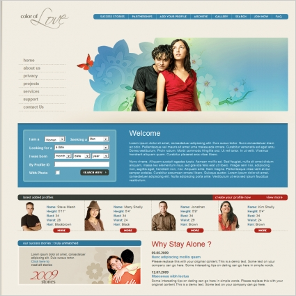 Color of Love Template Free website templates in css, html, js