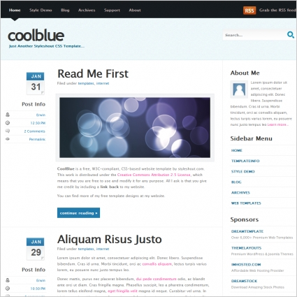 Cool Blue v10 Template Free website templates in css, html, js