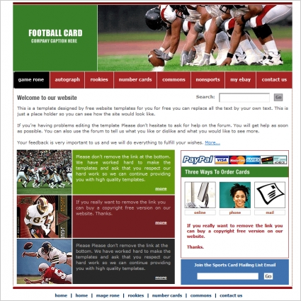 Football Card Template Free website templates in css, html, js