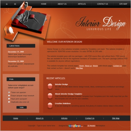 Interior Design Template Free website templates in css, html, js