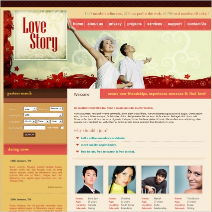 Love Story Template Free website templates in css, html, js format
