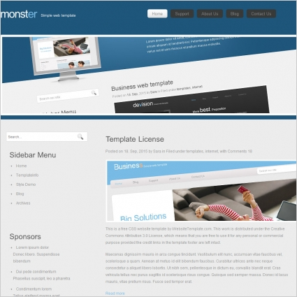 Monster Template Free website templates in css, html, js format for - Monster Template