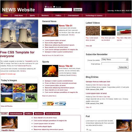 news Free website templates in css, html, js format for free