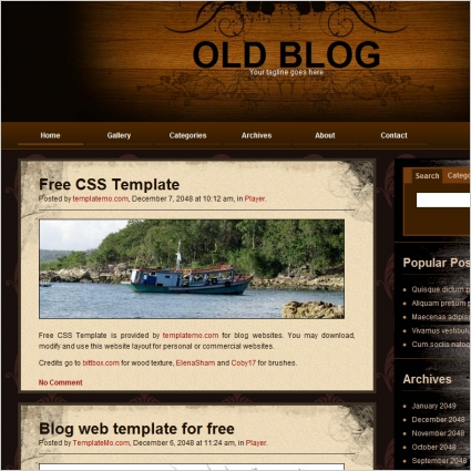old blog Free website templates in css, html, js format for free