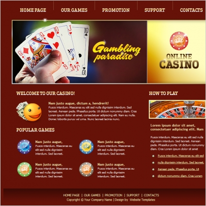 Online Casino Template Free website templates in css, html, js