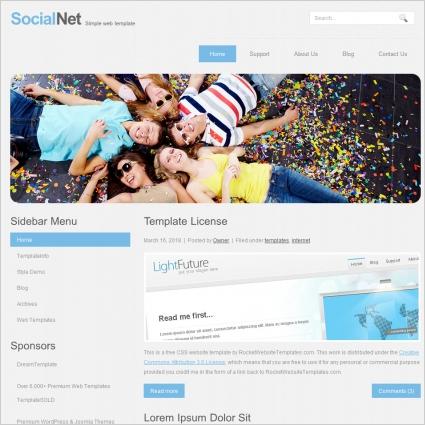 Social Net Template Free website templates in css, html, js format