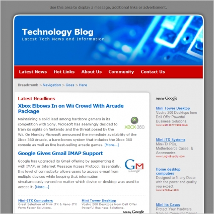 Technology Blog Template Free website templates in css, html, js