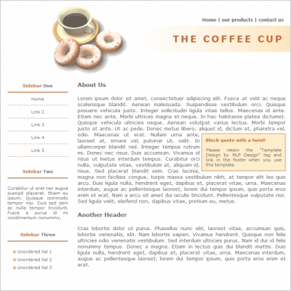 The Coffee Cup Template Free website templates in css, html, js