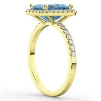 Blue Topaz & Diamond Engagement Ring 14k Yellow Gold (3 ...