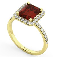 Emerald-Cut Garnet Diamond Engagement Ring 18k Yellow Gold ...