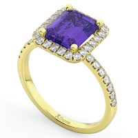 Emerald-Cut Tanzanite & Diamond Engagement Ring 14k Yellow ...