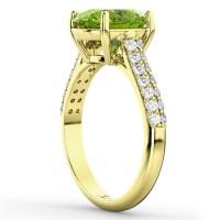 Oval Peridot & Diamond Engagement Ring 14k Yellow Gold 4 ...