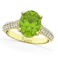 Oval Peridot & Diamond Engagement Ring 18k Yellow Gold 4 ...