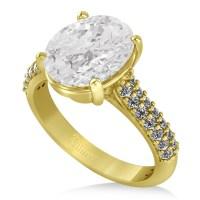 Oval White Topaz & Diamond Engagement Ring 14k Yellow Gold ...