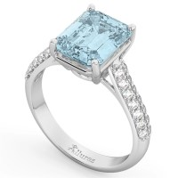 Emerald-Cut Aquamarine & Diamond Engagement Ring 14k White ...
