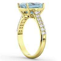 Emerald-Cut Aquamarine & Diamond Engagement Ring 14k ...