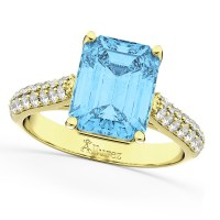 Emerald-Cut Blue Topaz & Diamond Ring 14k Yellow Gold 5 ...