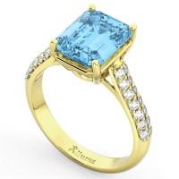 Emerald-Cut Blue Topaz & Diamond Ring 18k Yellow Gold 5 ...