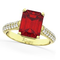 Emerald-Cut Ruby & Diamond Engagement Ring 14k Yellow Gold ...