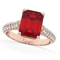 Emerald-Cut Ruby & Diamond Engagement Ring 18k Rose Gold 5 ...