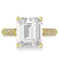 Emerald-Cut White Topaz & Diamond Engagement Ring 14k ...