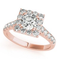 Diamond Halo Square Border Engagement Ring 18k Rose Gold 3 ...