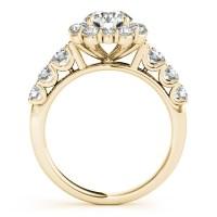 Diamond Frame Engagement Ring, Flower Design 14k Yellow ...