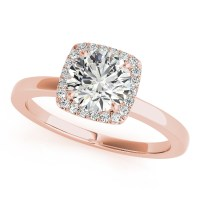 Diamond Square Solitaire Halo Engagement Ring 14k Rose ...