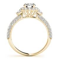 Flower Halo Pear Cut Diamond Engagement Ring 18k Yellow ...