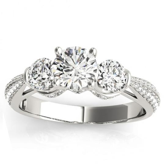Diamond 3 Stone Engagement Ring Setting Platinum (0.66ct