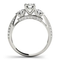 Diamond 3 Stone Engagement Ring Setting Platinum (0.66ct