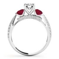 Diamond & Ruby 3 Stone Engagement Ring Setting Platinum 0