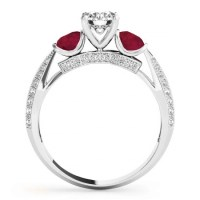 Diamond & Ruby 3 Stone Engagement Ring Setting Platinum 0 ...
