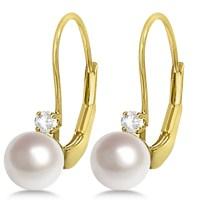 Cultured Akoya Pearl & Diamond Earrings Leverbacks 14K ...