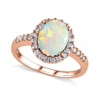 Oval Opal & Halo Diamond Engagement Ring 14k Rose Gold 2 ...